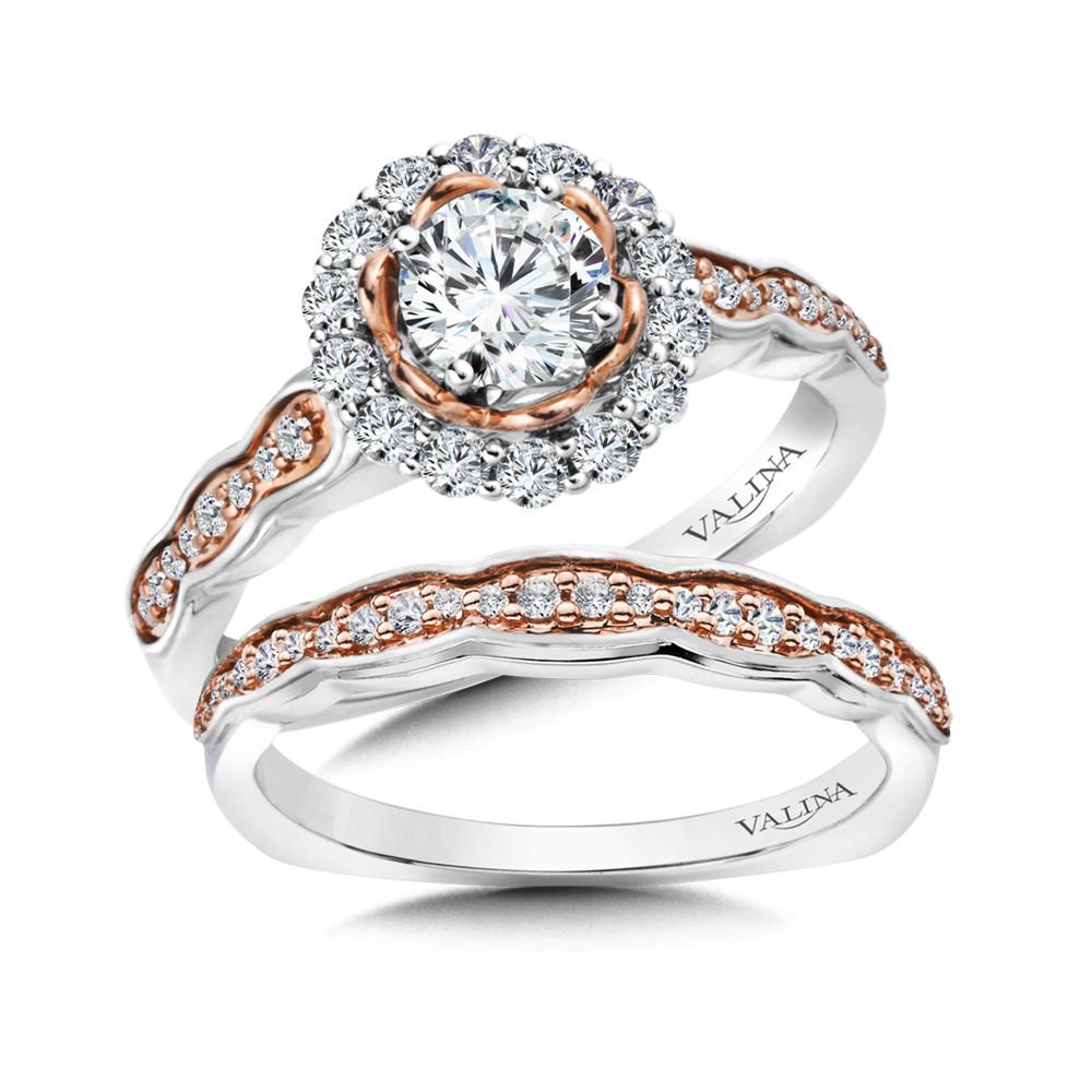 Rose Gold White Gold Diamond Halo Engagement Ring Rq9822wp Valina Engagement Rings