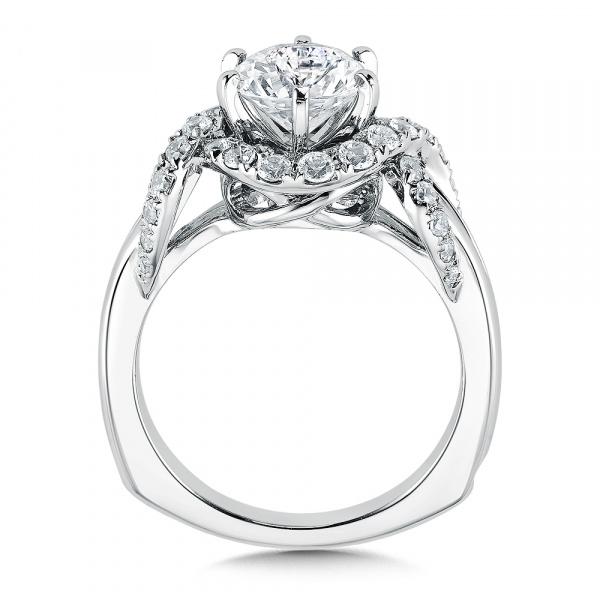 14k White Gold Halo Engagement Ring R9506w Valina Engagement