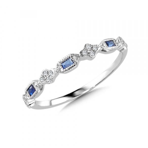 Diamond and Sapphire Stackable Ring | CCS2545-W | Valina