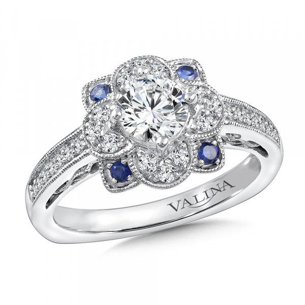 Diamond & Blue Sapphire Halo Engagement Ring