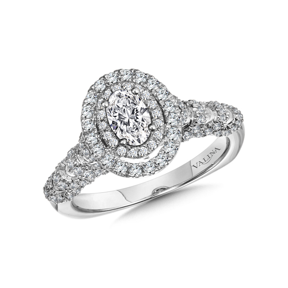 Double Halo Oval-Cut Diamond Engagement Ring - R9971W