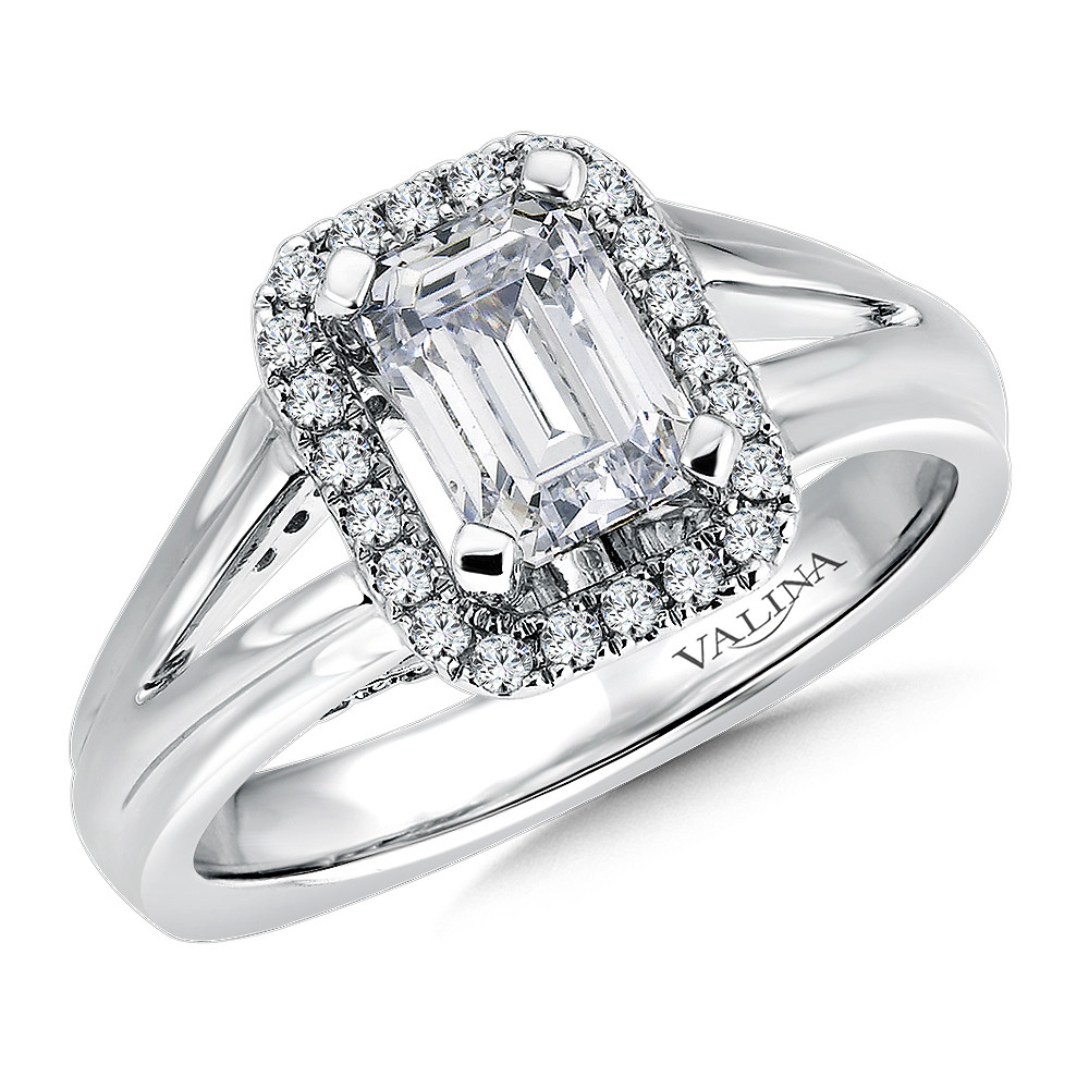 Emerald-Cut Diamond Halo Engagement Ring - R9284W