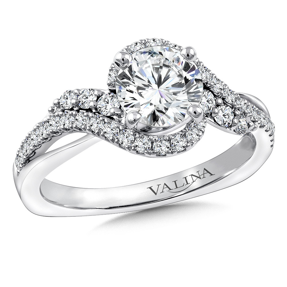 Spiral Style Diamond Engagement Ring - R9766W