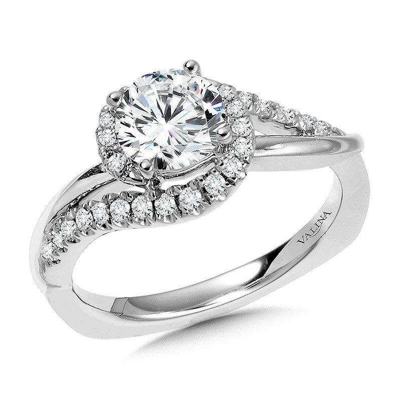 Round Spiral Engagement Ring by Valina - R1053W