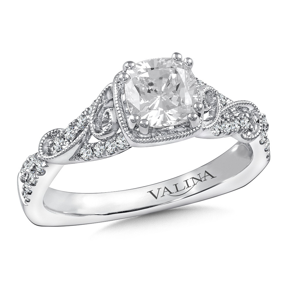 Cushion Shape Diamond Engagement Ring By Valina - R9763W