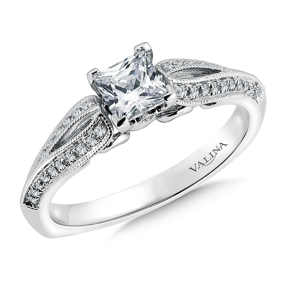 Princess-Cut Diamond Engagement Ring by Valina Bridals - RQ9409W