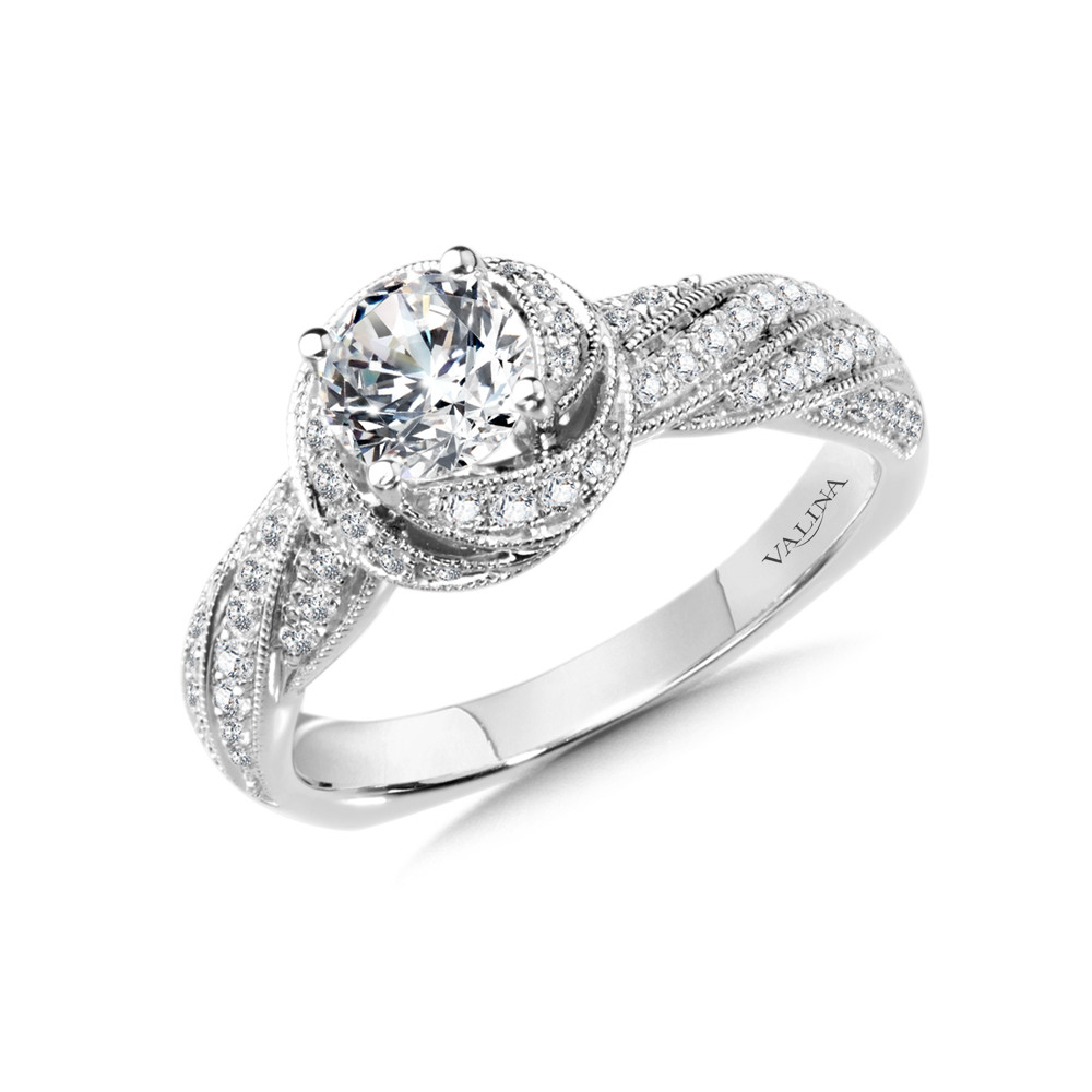 Spiral Halo Engagement Ring by Valina - R1006W